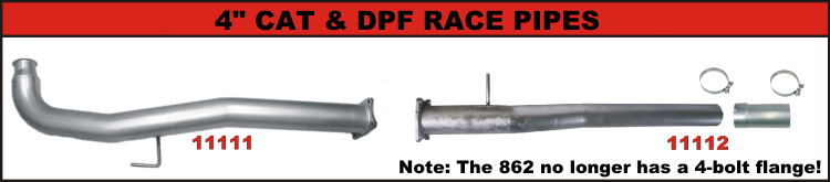 """Flo-Pro 4/"""" Cat Race Pipe w//4-Bolt Flange Stainless for GM Duramax 6.6L LML 11-15"""